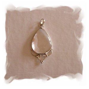 White Topaz Quartz Pendant