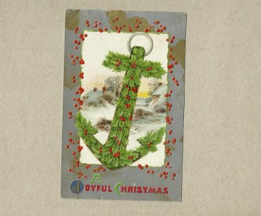 VINTAGE JOYFUL CHRISTMAS ANCHOR POSTCARD POSTED EVERETT WASHINGTON