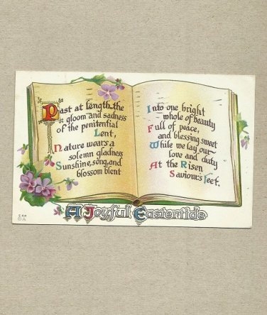VINTAGE 1916 EMBOSSED EASTER POSTCARD WITH ONE CENT UNITED STATES STAMP