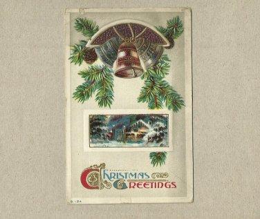 VINTAGE BELLVILLE ILLINOIS CHRISTMAS GREETINGS POSTCARD 1913