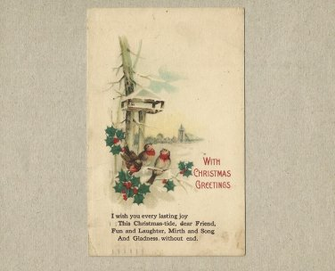 MILWAUKEE 1920 CHRISTMAS GREETINGS POSTCARD WITH ONE CENT UNITED STATES STAMP