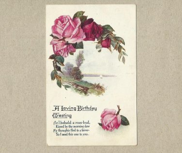 UNITED STATES 1923 ROSE BUD BIRTHDAY POSTCARD WITH ONE CENT STAMP