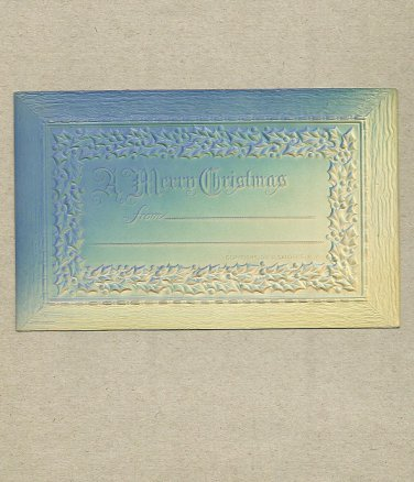 UNITED STATES VINTAGE UNUSED MERRY CHRISTMAS POSTCARD FROM THE ERA OF ONE CENT POST