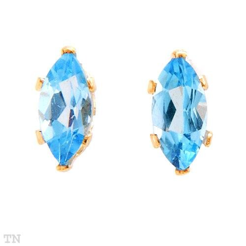 14K Gold and Genuine Blue Topaz Earrings