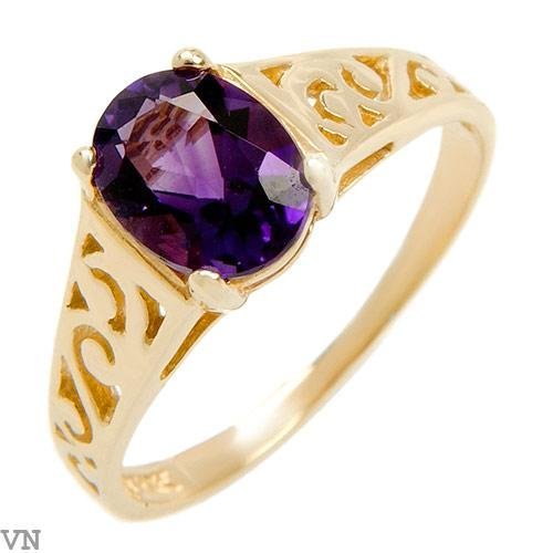Beautiful Genuine Amethyst Ring Designed in10K  Solid Yellow Gold