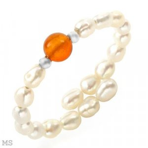 Genuine Carnelian and Freshwater Pearls Ring