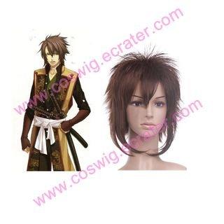 Hakuouki Shinsengumi Kitan Okita Souji Brown 35cm Nylon  Halloween Cosplay wig
