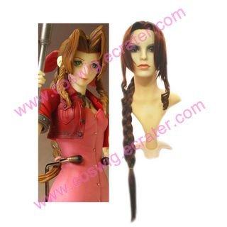 Kingdom Hearts Final Fantasy VII Aerith  Halloween Cosplay Wig