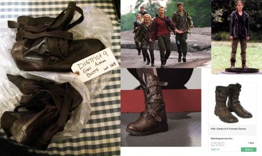 District 9 female Tribute boots onscreen costume from 2013 Hunger Games Auction
