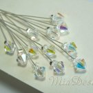 20x Swarovski 8mm Clear AB Crystal Stem for Wedding Bouquet Flower or Cake Topper Decoration
