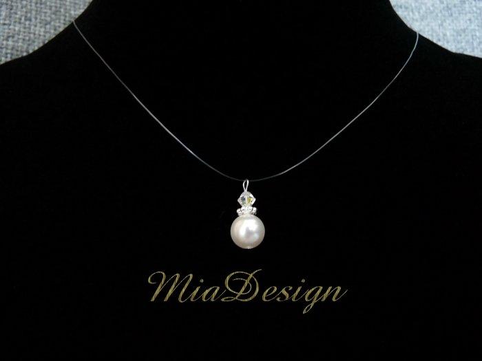Swarovski Crystal and Pearl Simple Floating Illusion Wedding Bridal / Bridesmaid Necklace Choker