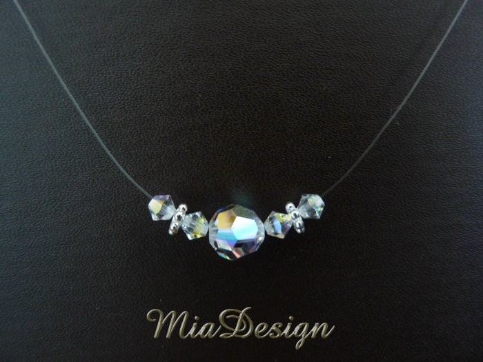 Swarovski Crystal Floating Illusion Wedding Bridal or Bridesmaid Sterling Silver Necklace