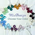48 Swarovski 6mm Crystal / Pearl Stem Wedding Flower Bouquet Decoration (choose colors u want)