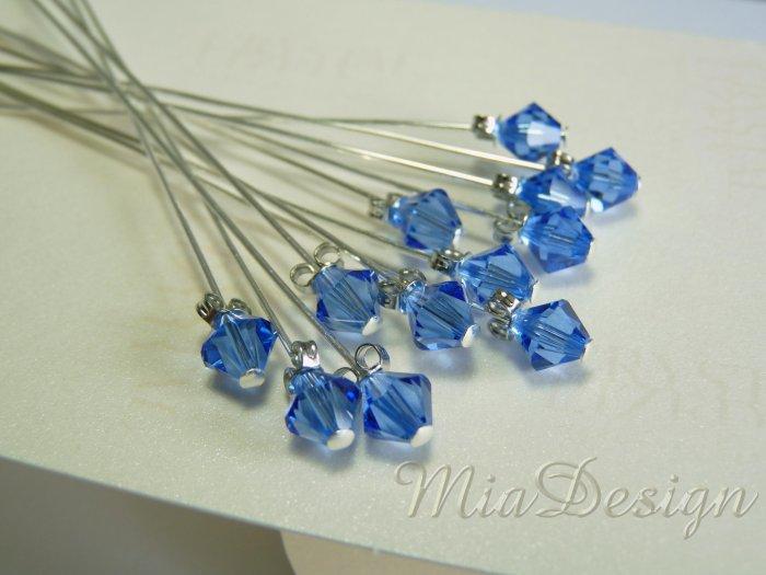 Swarovski Sapphire Crystal Stem for Wedding Bouquet Flower Decoration - Something Blue