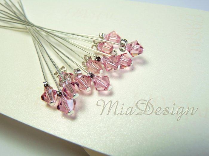 Swarovski Light Rose Crystal Stem for Wedding Bouquet Flower / Cake Topper Decoration