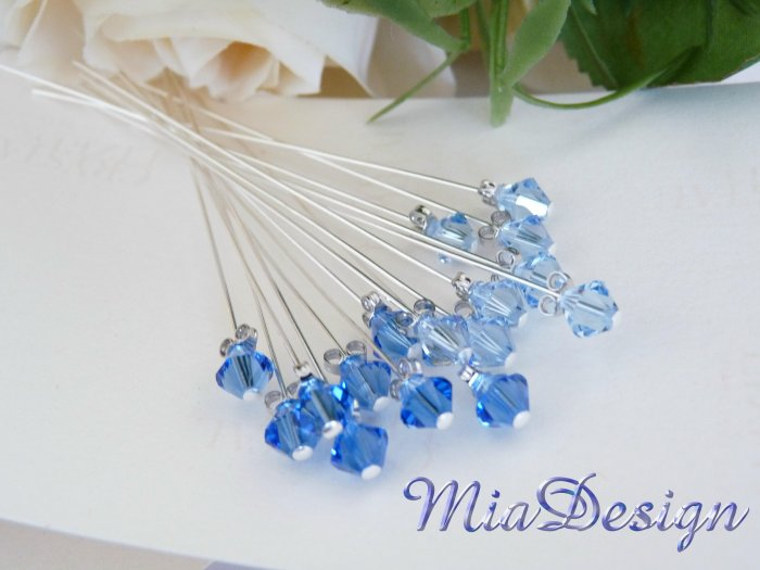 Swarovski Crystal Stem for Wedding Bouquet / Cake Topper Decoration - Something Blue