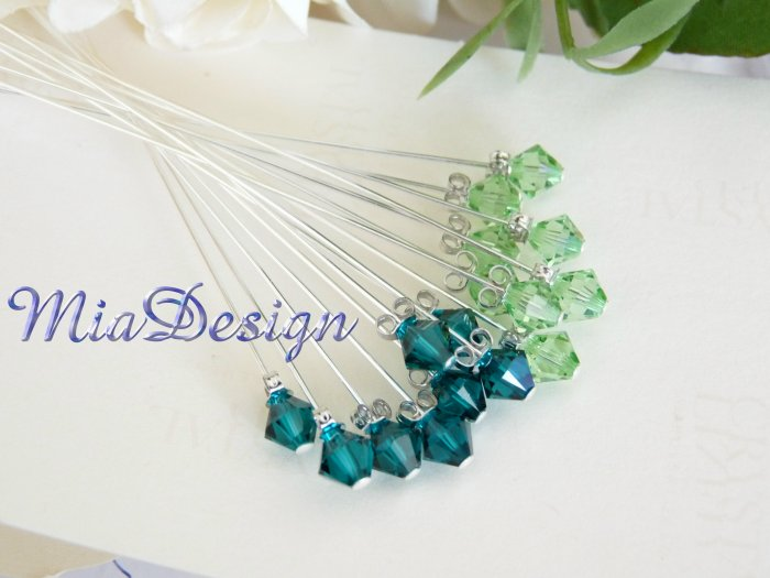 Swarovski Green Crystal Stem for Wedding Bouquet Flower / Cake Topper Decoration