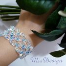 Swarovski Crystal 925 Sterling Silver Cuff Bracelet for Bride / Bridesmaid Something Blue