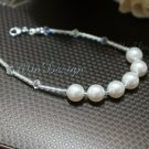 Swarovski Crystal Pearl Sterling Silver Bridal Bracelet Wedding Bride Gift to Bridesmaid Tube Glass