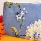 Blue with White Floral Design Zipper Coin Purse