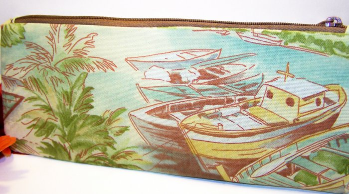 Seaside View Boat Design Zipper Coin Purse