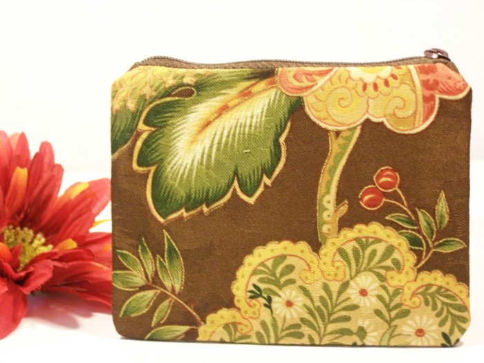 Brown with Floral Pattern Design Zipper Coin Purse