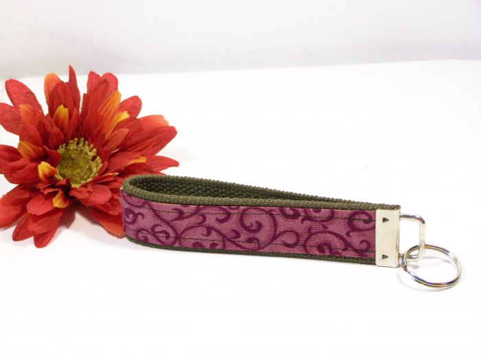 Green Flowers and Burgundy Swirls Key Chain~Key FOB~Wristlet