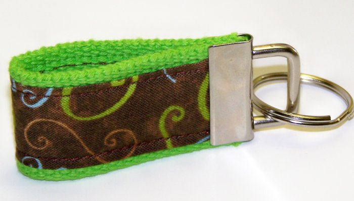 Lime Green with Chocolate Brown Swirl Design~Mini Finger Key FOB