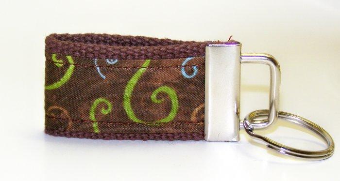 Chocolate Brown with Swirls Design~Mini Finger Key FOB