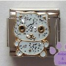 Adorable white glitter enamel cat Italian Charm