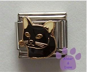 Black Kitty Cat or Kitten Italian Charm