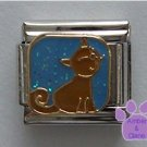 Brown cat against blue glitter sky Italian Charm
