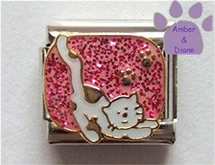 White spotted cat with paw prints Italian Charm