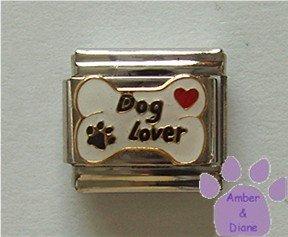 Dog Lover on Bone Italian Charm - red heart & paw print