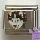 Gorgeous Black and White Husky Dog Italian Charm