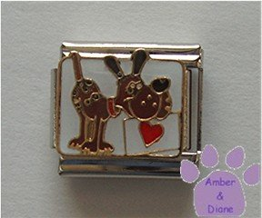 I Love My Dog and My Dog Loves Me Italian Charm with red heart