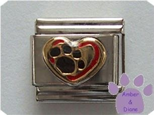 Red Heart with Golden Pawprint Italian Charm - Love your Dog