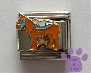 Brown Horse Italian Charm with Saddle