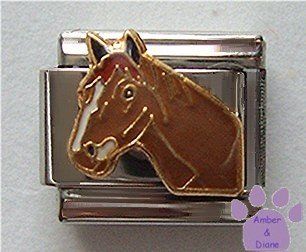 Brown Horse's Head Italian Charm