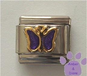 Amethyst Purple Glitter Butterfly Italian Charm for February
