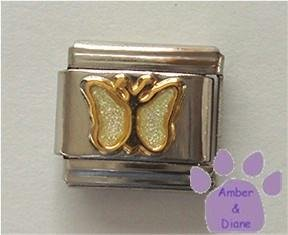 Pearl White Glitter Butterfly Italian Charm for June birthday