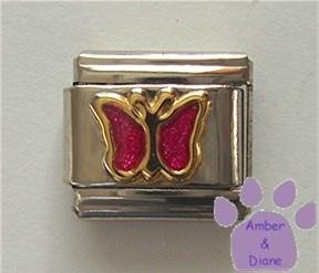 Pink Tourmaline Glitter Butterfly Italian Charm for October