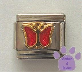 Ruby Red Glitter Butterfly Italian Charm for July birthday