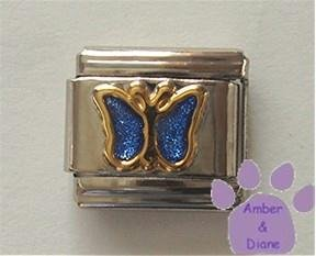Sapphire Blue Glitter Butterfly Italian Charm for September