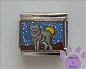 Gray Wolf Italian Charm Against a Yellow Full Moon