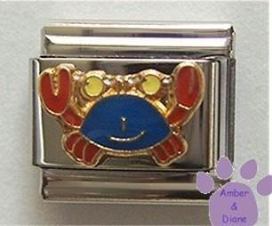 Cute Blue & Red Crab Enamel Italian Charm * Cancer Zodiac Sign *