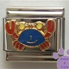 Cute Blue & Red Crab Enamel Italian Charm * Cancer Zodiac Sign *