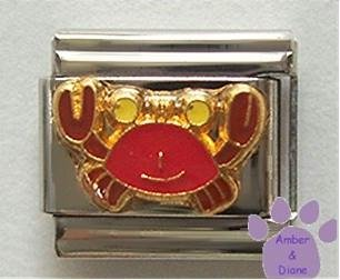 Cute Red Crab Enamel Italian Charm * Cancer Zodiac Sign *
