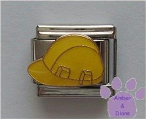 Yellow Hard Hat Italian Charm for Construction Work Site