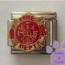 FIRE DEPARTMENT Italian Charm on red enamel logo